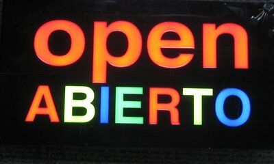 Lighted Led Window Sign Abierto Shop Restaurant Non Neon Display 17x 9 Open
