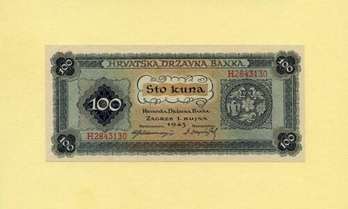 CROATIA KINGDOM, WWII 100 KUNA 1943 P-11a GOVERNMENT NOTES UNC