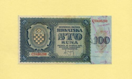 CROATIA KINGDOM, WWII AXIS INFLUENCE 100 KUNA 1941 P-2 GOVERNMENT NOTES UNC