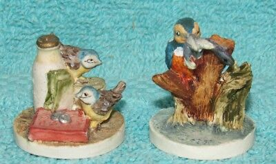 2 Vintage Peter Fagan Adorables Miniature from Scotland, Birds by Book & w/fish