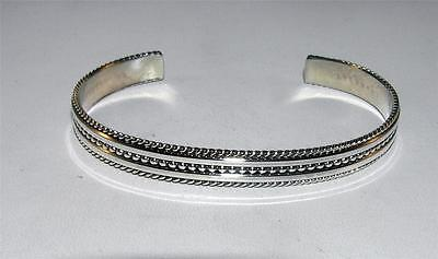 Native American Solid Cuff Bracelet Sterling Silver Roping Design Signed Tahe
