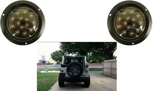 2 red flushmount led light with clear