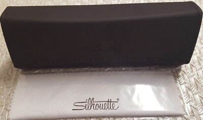 Authentic SILHOUETTE High End Leather Eyeglass Case + Cloth. Brand (High End Eyeglasses Brands)