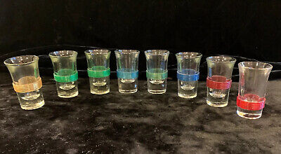8 Vintage Mid-Century Shot Glasses Celluloid Band BLADE RUNNER STAR TREK VOYAGER Band Shot Glasses