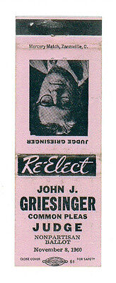 JOHN J. GRIESINGER JUDGE RE-ELECT MATCHBOX LABEL 1960 AMERICA POLITIC