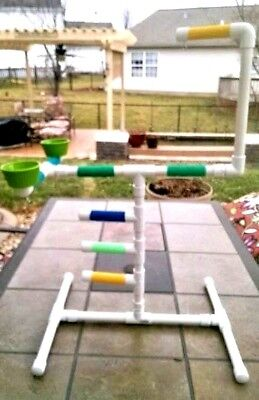 """NEW Large 3/4"""" PVC Parrot Perch Play Gym Stand  Birds Love T"""