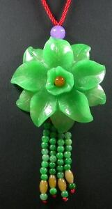 Green JADE 100% Natural, PENDANT Rose Flower with Necklace