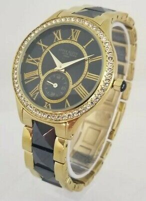 Anne Klein 12/2142BKGB Women's 38mm Crystal Accent Ceramic Swiss Watch