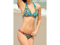 Blue Paisley Push-up Halter Swimsuit size 8 - 10 NEW