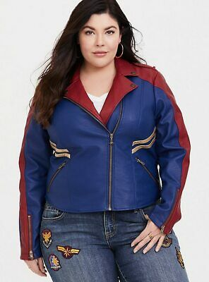 Captain Marvel Moto Faux Leather Jacket Her Universe Blue/Red/Gold Sizes 0/1/2