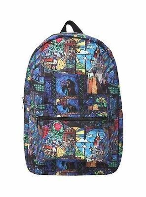 2c50f08c3d00 Disney Beauty and the Beast Stained Glass School Backpack Book Bag LARGE ...