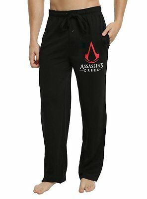 Assassin Creed Women (Mens Womens NEW Assassin's Creed Red Logo Black Pajama Lounge Pants)