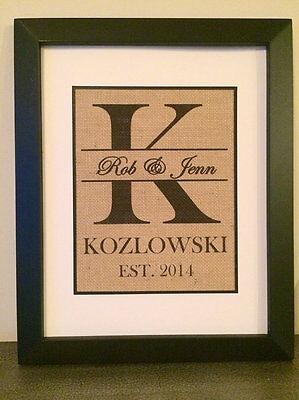 Personalized Burlap Print Monogrammed Wall Art Established Sign Wedding GIFT](Established Sign)
