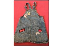 Girls denim dungaree dress age 7 years