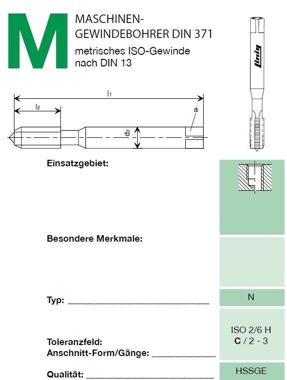 Regelgew ISO - NEU M20 x 2,5 HSS Maschinengewindebohrer Gewindebohrer
