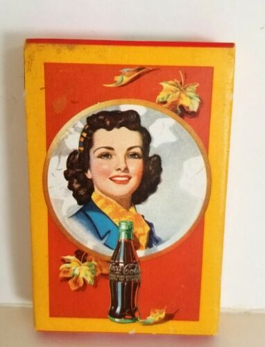 1943 WWII, Coca-Cola, Deck of Autumn Girl Playing Cards W/Tax Stamp, SEALED Deck