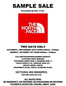 The North Face Sample Sale: Presented by One.5 Inc. Sept30-Oct1