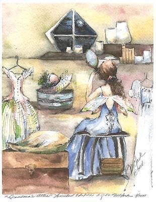 FAIRY GIRL MIRROR OLD FASHIONED HAT DRESS COSTUME ART NOUVEAU L/E SIGNED PRINT