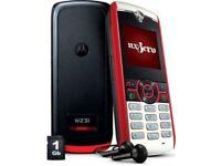 Motorola YUVA W231 UNLOCKED MobilePhone DARKORANGE&WHITE Ear Pieces-DATA Cable- UK Charging Plug NEW