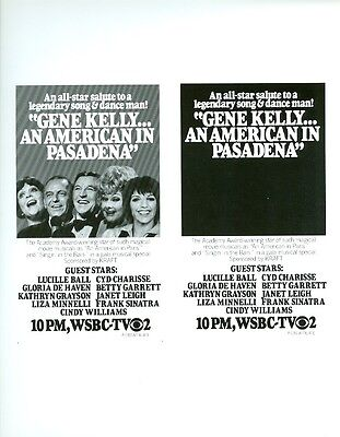 GENE KELLY AN AMERICAN IN PASADENA RARE ORIGINAL 1978 CBS TV NEWSPAPER AD SLICK