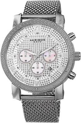 Akribos XXIV Men's AK713SS Grandiose Diamond-Accented Stainless Steel Watch with
