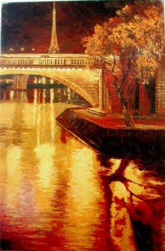 "Howard Behrens ""Twilight on the Seine I"" Heavily Embellished List $3750 HS#COA"