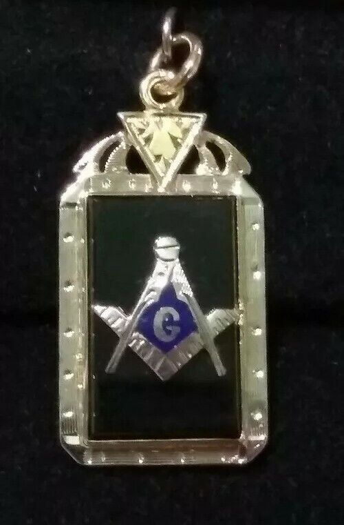 Vintage Custom 14K White & Yellow  Gold & Black Onix Masonic Mason Fob Pendant