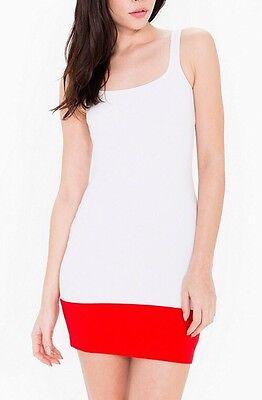 American Apparel Ponte Color Block Mini Tank Dress White True Red Bottom Small