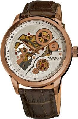 Akribos XXIV AK538BR Mechanical Skeleton Brown Leather Strap Rosetone Mens Watch