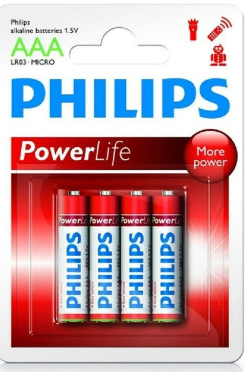 Batterie Philips Powerlife LR03 Micro AAA  Blister mit 4 Stück     MHD 01/2020