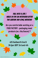 FOOD WAREHOUSE & FACTORY WORK! WALK SEPT 3RD-4TH