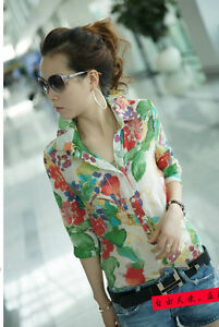 New Womens Korean Fashion Flower Print Chiffon 3/4 Sleeve Shirt 2 Colors E654