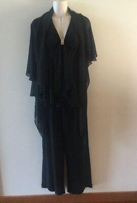 3 Piece Dress Pants - ONYX 3 PIECE LONG BLACK FORMAL DRESS PANT SET W/ RUFFLES BROACH SIZE 6  SZ 6