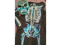 Glow in the dark skeleton costume and mask