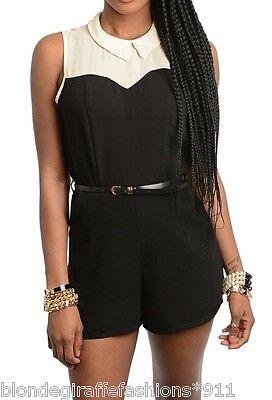 Black/Ivory Pearl Bead Collar Shorts Romper/Jumper/Cat Suit 1 - Cat Suit Black