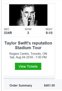2 Taylor Swift @ Rogers Centre Aug 4th concert tix at cost