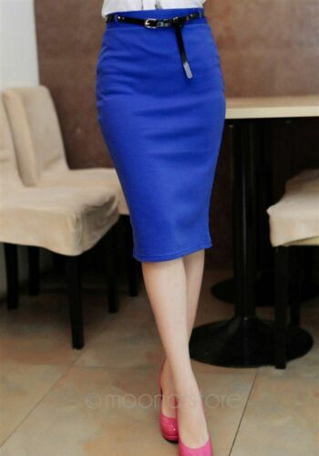 Women Elegant High Waist Straight Slim Stretch Bodycon Pencil Dress Midi Skirt