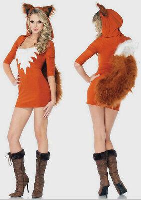 Womens Sexy Fox Fancy Dress Costume Halloween Foxy Lady Costume W/Ears and - Fox Tails Kostüm