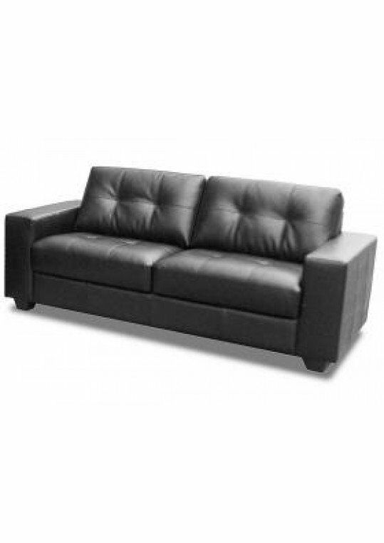 3 Seater Black Artificial Leather Sofa Brand New