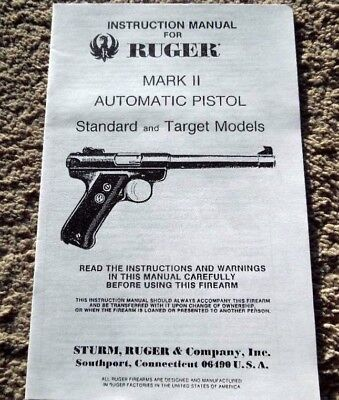 (Sturm Ruger Mark II  Automatic Pistol Manual 1980's 18 pages)