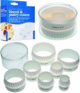 7 DOUBLE EDGED CUTTERS IN A TUB Fluted & Plain - Pastry, Biscuit, Cookie, Scones