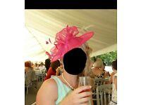 Beautiful large bright pink ladies hat fascinator ladies day/races/wedding