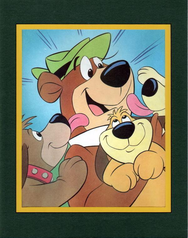 Yogi Bear Gang - YOGI w PUPPIES Professionally Matted PRINT
