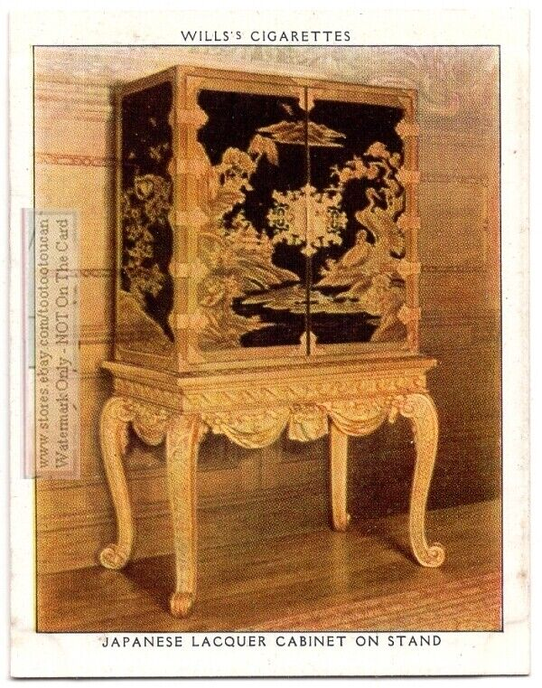 Japanese Lacquer Cabinet On English Stand Funtiture 1930s Trade Ad Card