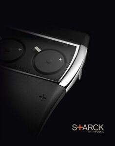 NWT PHILIPPE STARCK watch FOSSIL Black Rubber Dual Time Palindrome W/BOX PH5029