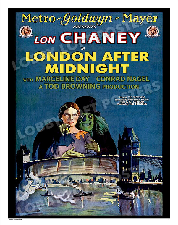 LONDON AFTER MIDNIGHT LOBBY CARD POSTER OS/BEL 1927 LON CHANEY