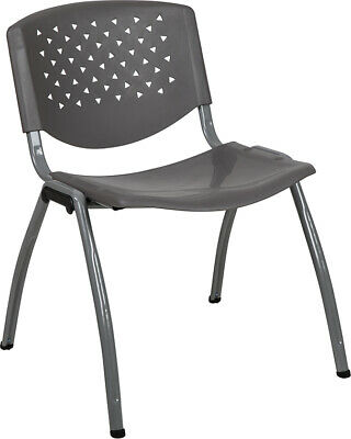 Heavy Duty Gray Plastic Stack Office Chair - Waiting Room Chair - Guest Chair