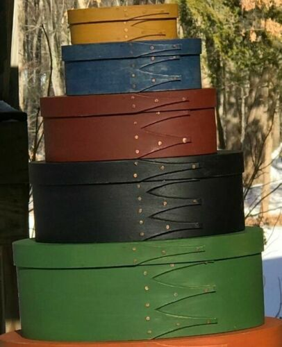 MAPLE and PINE SHAKER OVAL BOXES--- STACK OF 5---- MILKPAINTED IN YOUR CHOICE
