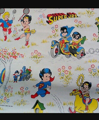 Rare Vintage 1979 DC Comics Super Jrs Wallpaper Wonder Woman Superman Batman](Dc Comics Batman Wallpaper)
