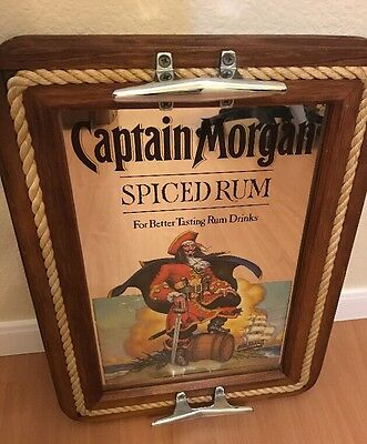 Captain Morgan Spiced Rum Advertising Bar Mirror Nautical Decor Real Wood Tray